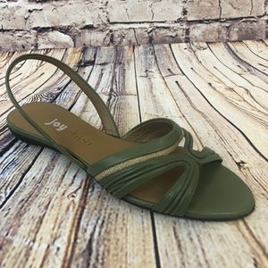 Green Leather Slingback Sandals Burlap 9.5